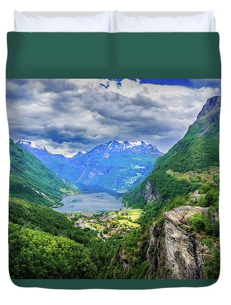 Duvet Cover featuring the photograph View On Geiranger From Flydalsjuvet by Dmytro Korol