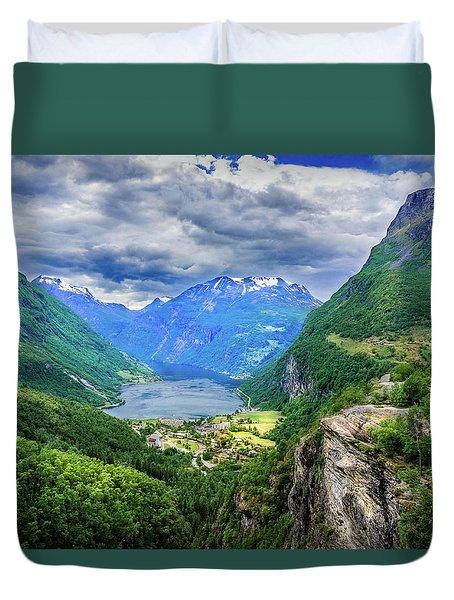 View On Geiranger From Flydalsjuvet Duvet Cover