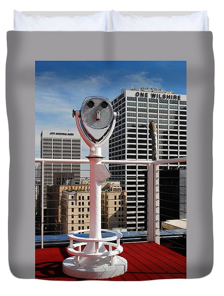 Duvet Cover featuring the photograph View On L A by James Kirkikis