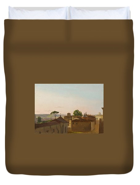 Duvet Cover featuring the painting View On The Quirinal Hill. Rome by Simon Denis
