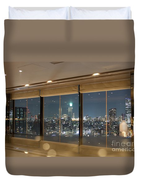 View On Tokyo Cityscape Duvet Cover by Patricia Hofmeester