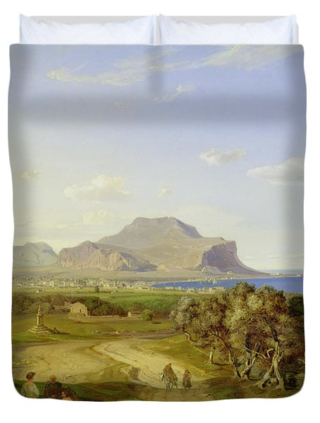 View Over Palermo Duvet Cover by Carl Rottmann