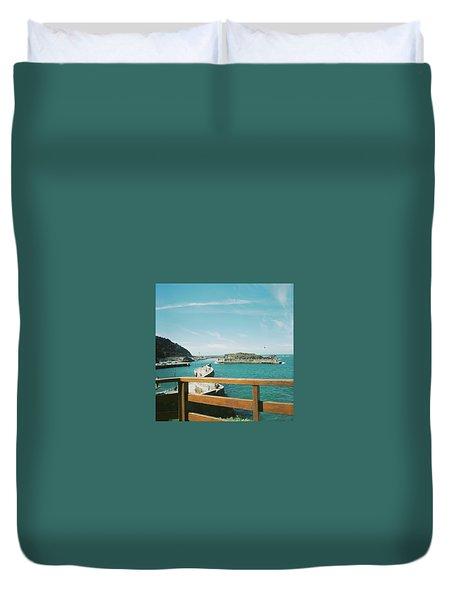View Over The Ocean Port Duvet Cover