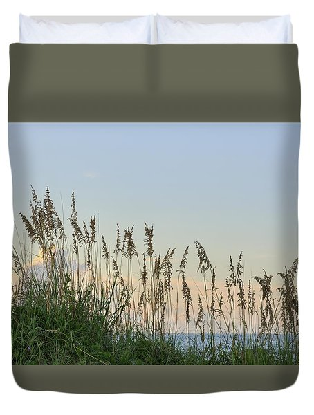 View Through The Sea Oats Duvet Cover by Bradford Martin