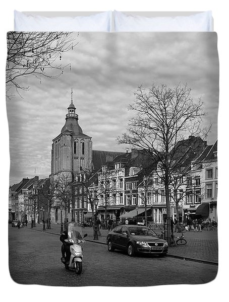 View To The Bosch Street In Maastricht Duvet Cover by Nop Briex
