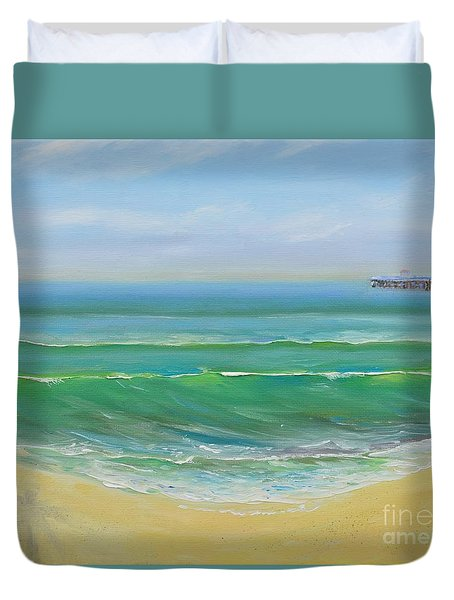 Duvet Cover featuring the painting View To The Pier by Mary Scott