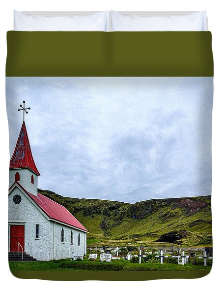 Vik Church And Cemetery - Iceland Duvet Cover