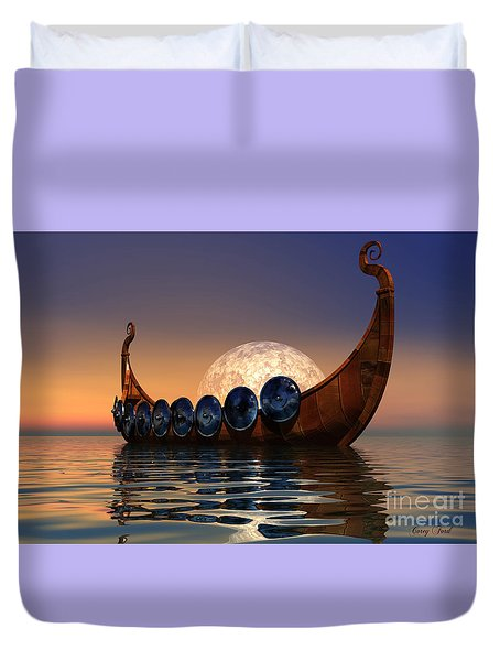 Viking Boat Duvet Cover by Corey Ford