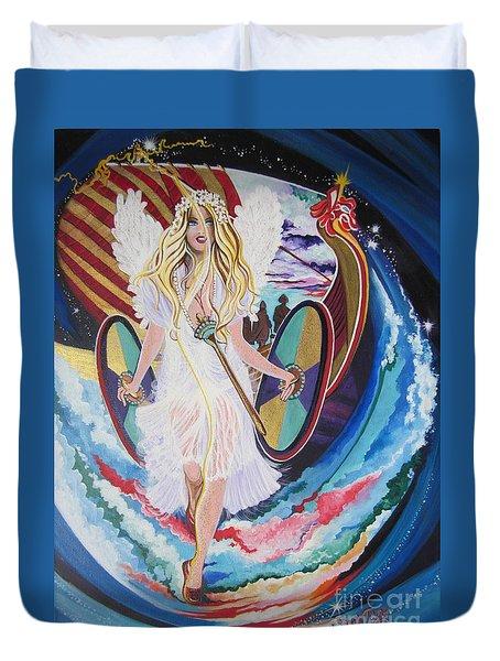 Blaa Kattproduksjoner   Welcomes Viking Goddess  To  Egypt Duvet Cover