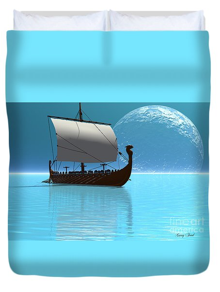 Viking Ship 2 Duvet Cover by Corey Ford