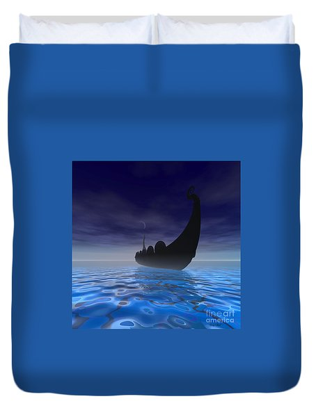 Viking Ship Duvet Cover by Corey Ford