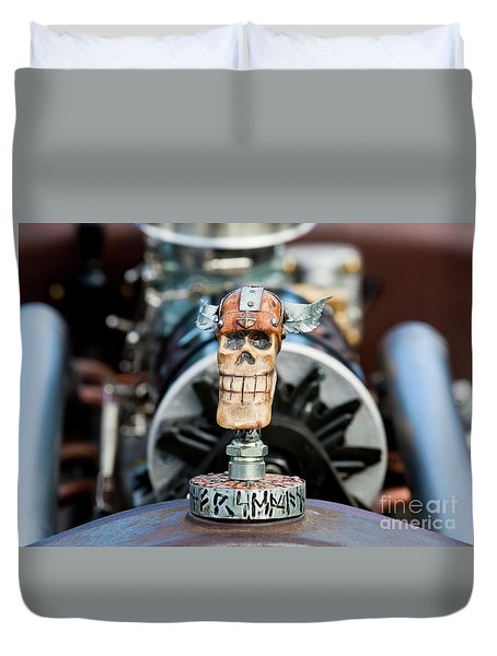 Duvet Cover featuring the photograph Viking Skull Hood Ornament by Chris Dutton