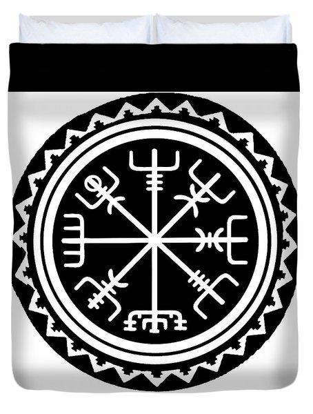 Duvet Cover featuring the digital art Viking Vegvisir Compass by Vagabond Folk Art - Virginia Vivier