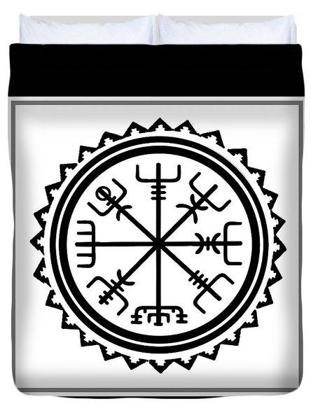 Duvet Cover featuring the digital art Viking Vegvisir Protection Compass by Vagabond Folk Art - Virginia Vivier