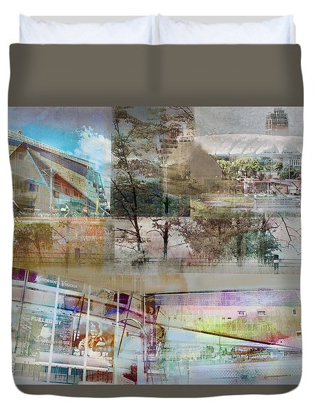 Vikings Stadium Collage 2 Duvet Cover