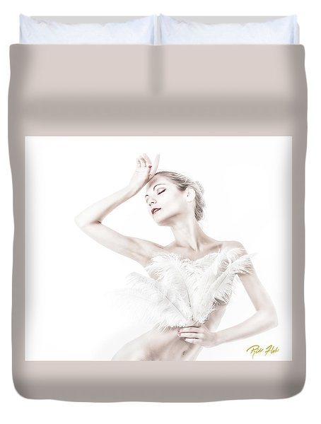 Viktory In White - Feathered Duvet Cover by Rikk Flohr