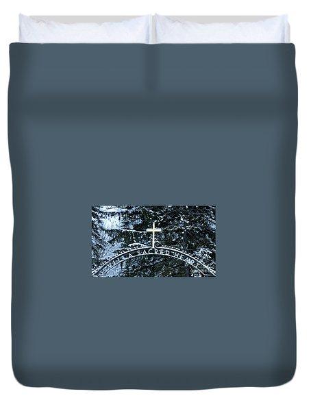 Villa Sacred Heart Winter Retreat Golden Cross Duvet Cover by John Stephens