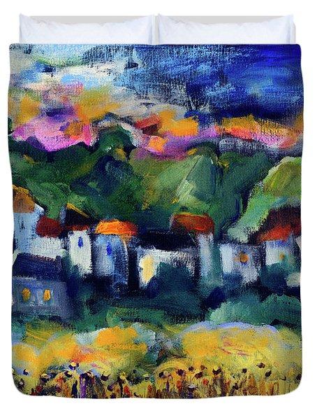 Village At Sunset Duvet Cover