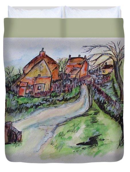 Village Back Street Duvet Cover by Clyde J Kell