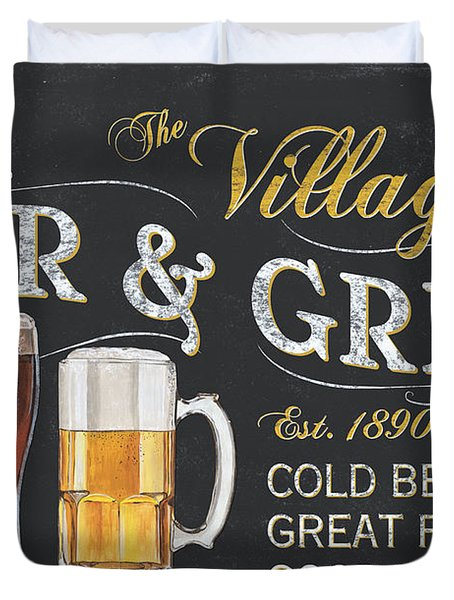 Village Bar And Grill Duvet Cover