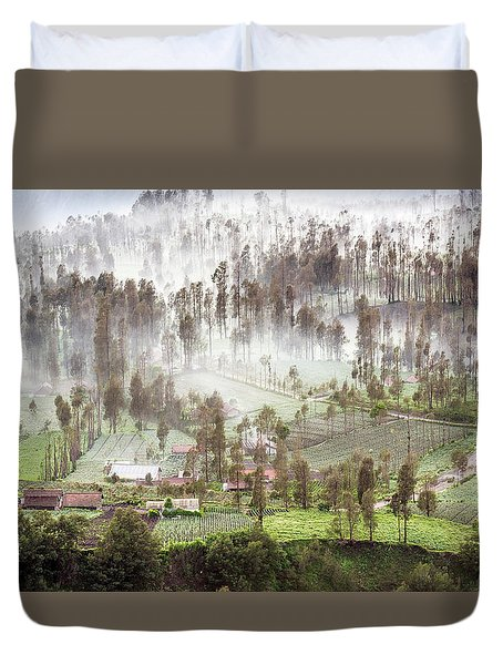 Duvet Cover featuring the photograph Village Covered With Mist by Pradeep Raja Prints