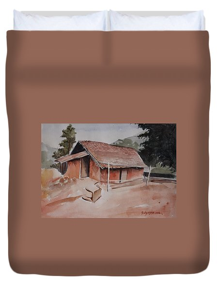 Village Hut Duvet Cover
