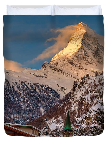 Village Of Zermatt With Matterhorn Duvet Cover