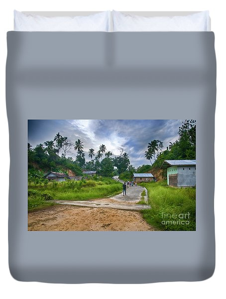 Duvet Cover featuring the photograph Village Scene by Charuhas Images
