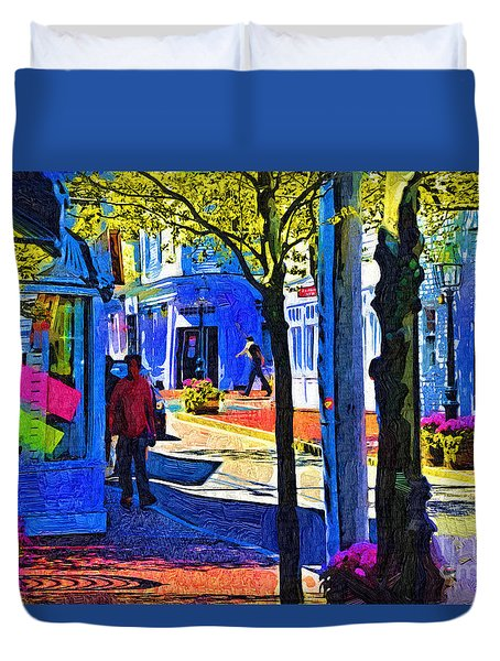 Village Shopping Duvet Cover