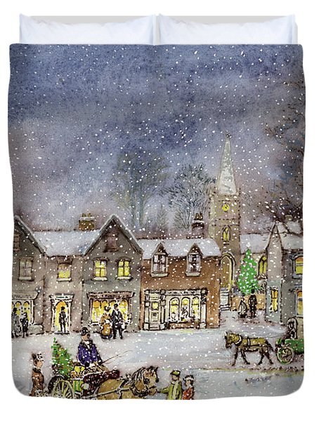 Village Street In The Snow Duvet Cover by Stanley Cooke