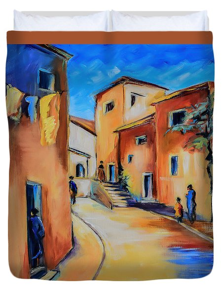 Village Street In Tuscany Duvet Cover