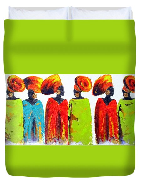 Village Talk Duvet Cover