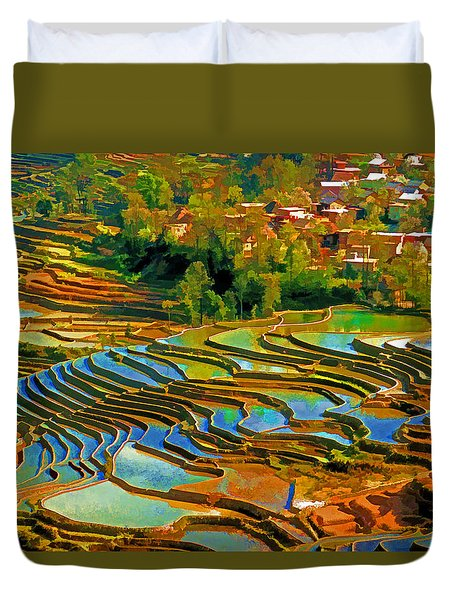 Duvet Cover featuring the photograph Village Terraces by Dennis Cox WorldViews