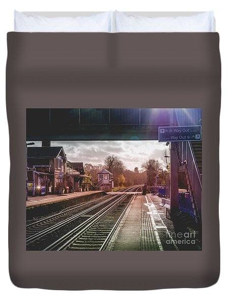 The Village Train Station Duvet Cover