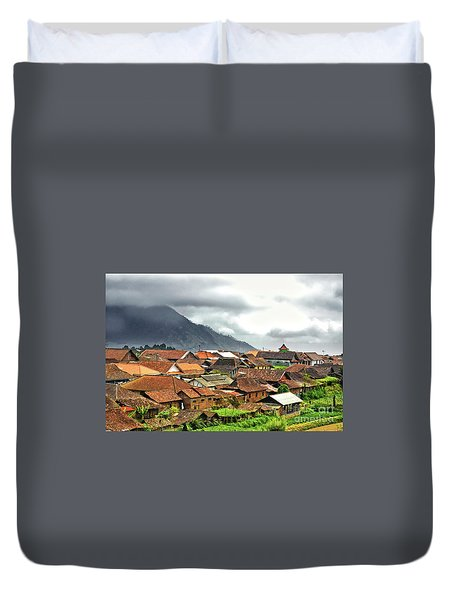 Duvet Cover featuring the photograph Village View by Charuhas Images