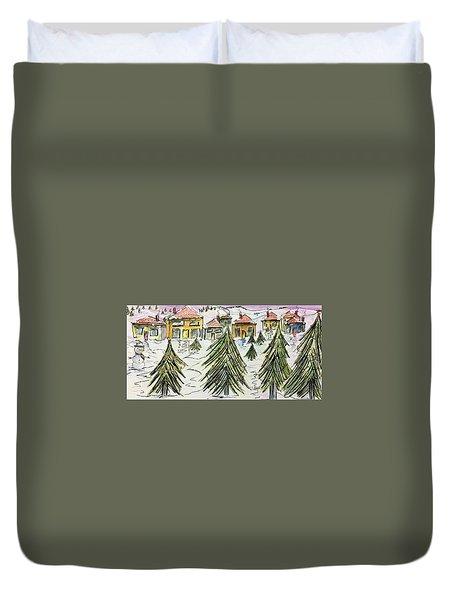 Village Winter Wonderland Duvet Cover