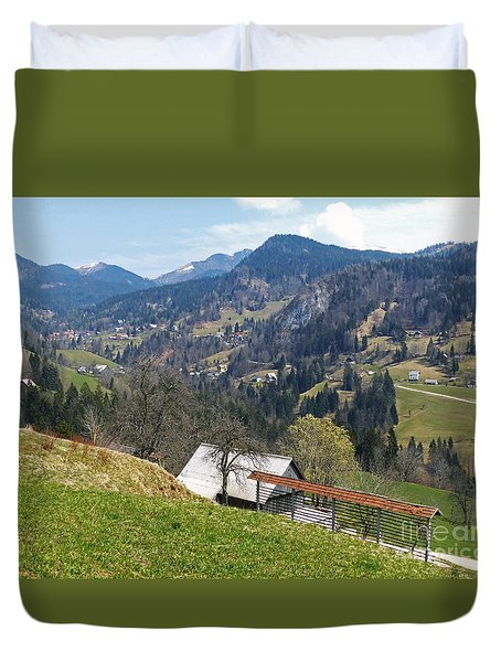 Villages In The Mountains Duvet Cover