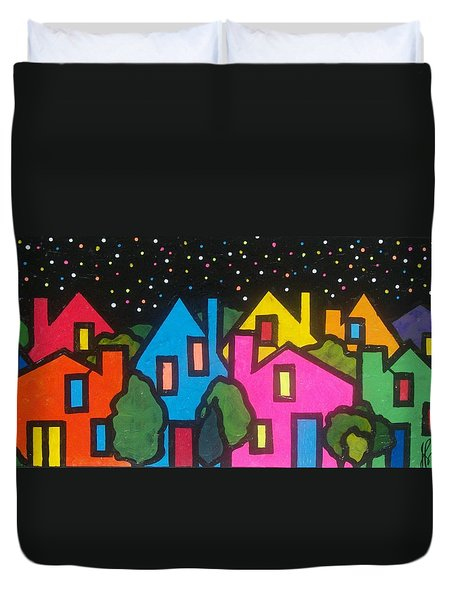 Duvet Cover featuring the painting Villagescape by Jim Harris