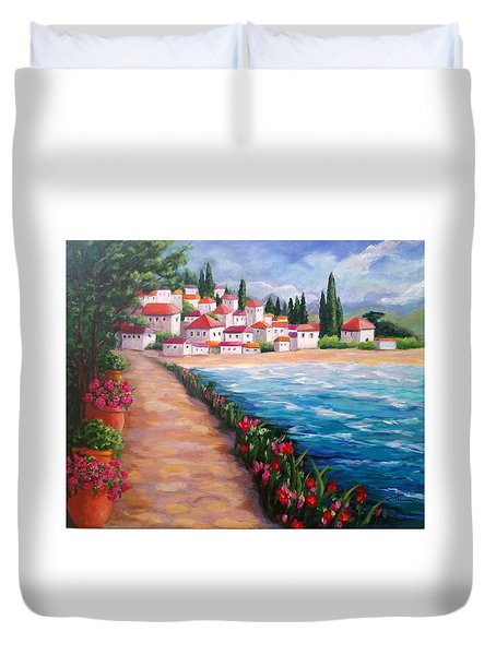Villas By The Sea Duvet Cover
