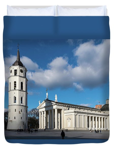 Vilnius Bell Tower And Cathedral Duvet Cover