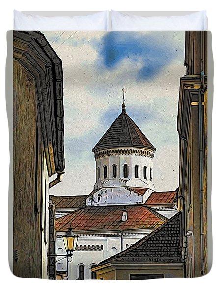 Vilnius Old City Duvet Cover