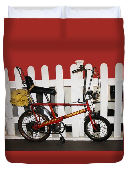 Vintage 1970s Bike With Rucksack  Duvet Cover by Tom Conway