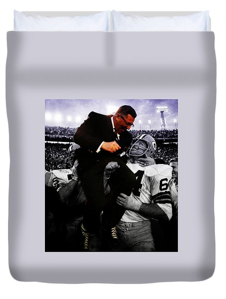 Duvet Cover featuring the digital art Vince Lombardi Sweet Victory by Brian Reaves