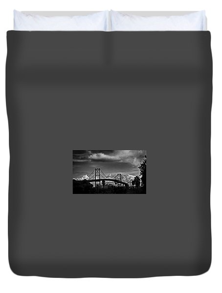 Duvet Cover featuring the photograph Vincent Thomas Bridge by Joseph Hollingsworth