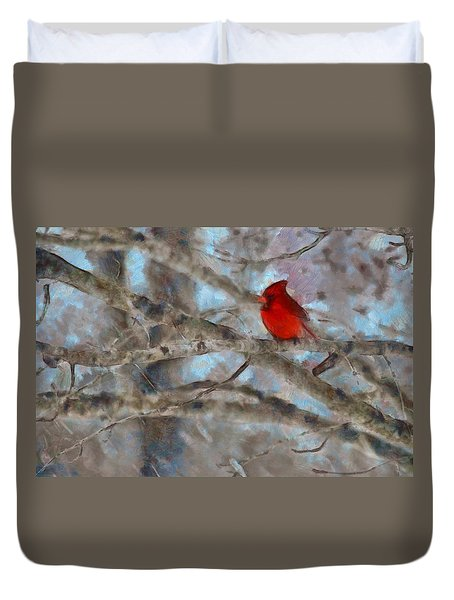Duvet Cover featuring the mixed media Vincent by Trish Tritz
