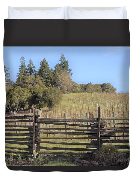 Vineyard In The Spring Duvet Cover