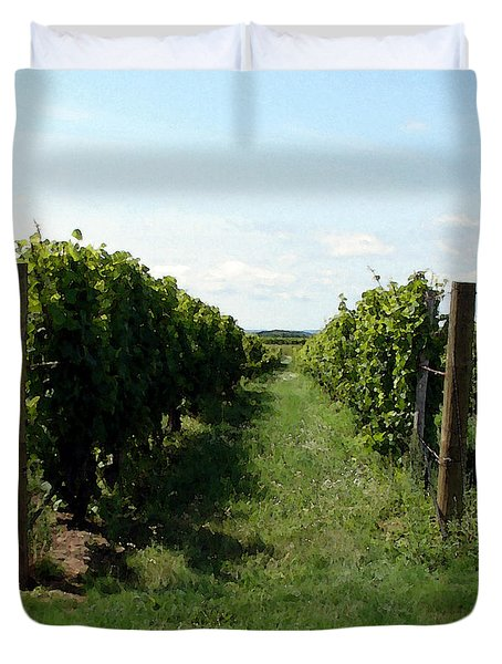 Vineyard On The Peninsula Duvet Cover by Michelle Calkins
