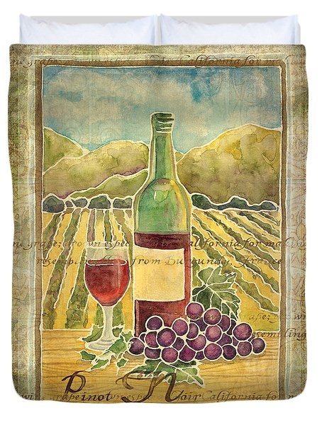 Vineyard Pinot Noir Grapes N Wine - Batik Style Duvet Cover