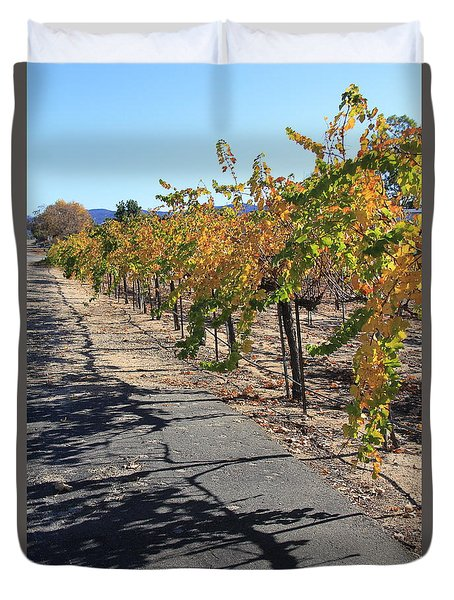Duvet Cover featuring the photograph Vineyard Shadows by Suzanne Oesterling