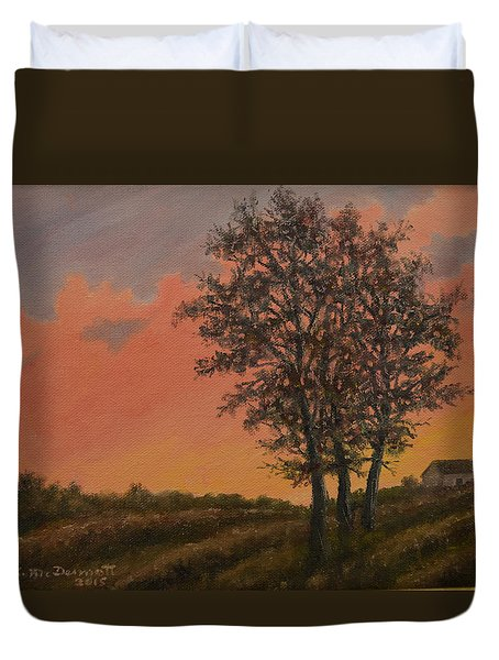 Vineyard Sundown Duvet Cover by Kathleen McDermott